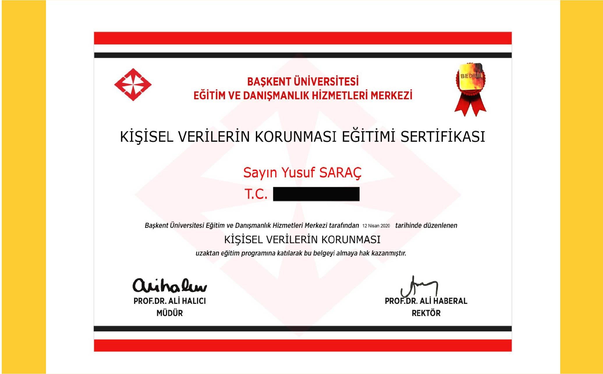 Yusuf Saraç | Başkent Üniverstesi KVKK Eğitimi Sertifikası