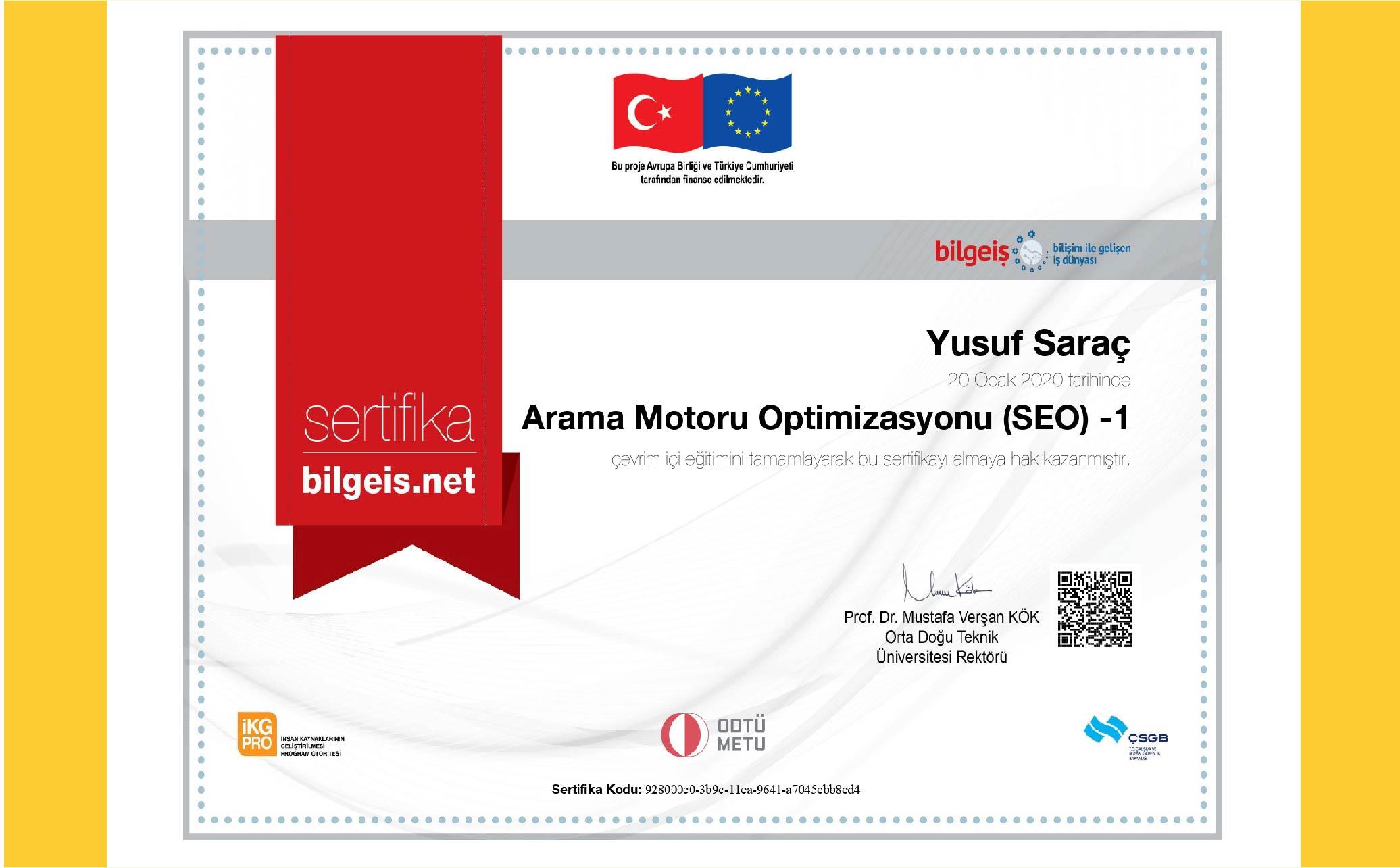 Yusuf Saraç | ODTÜ SEO Optimizasyonu Sertifika 1