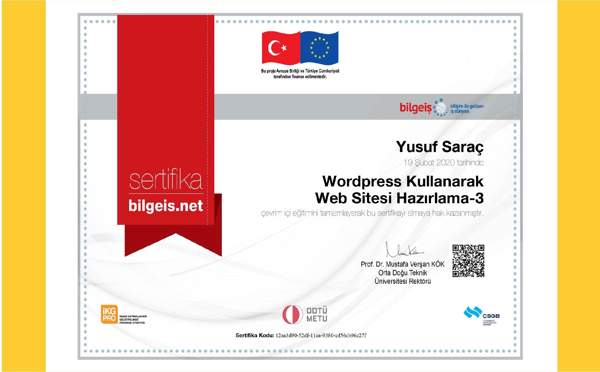 Yusuf Saraç | ODTÜ WordPress Eğitimi Sertifika 3